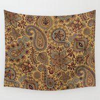 henna Wall Tapestries featuring Cosmic Paisley Henna by Groovity