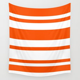 Mixed Horizontal Stripes - White and Dark Orange Wall Tapestry