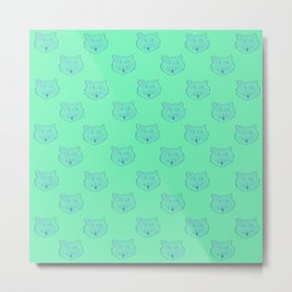 Crazed Polka Cat - Green Metal Print