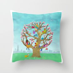 Tree Readers Throw Pillow