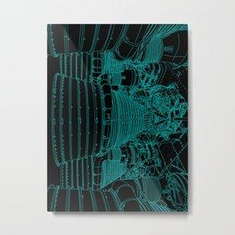 Apollo Rocket Booster - Green Neon Metal Print