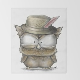I'll show you a Hoot! - Angry Owl Illustration - Kawaii Throw Blanket