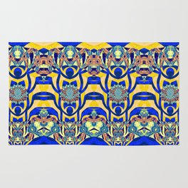 Neo Tribal Blue and Yellow Gold Modern Abstract Print Rug