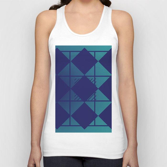 Blue,Diamond Shapes,Square Unisex Tank Top