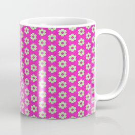 Hot Pink Plaid Mint Green Flower Coffee Mug