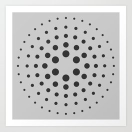 Mid-Century Modern Art - Spiral Dots Black & Grey Art Print
