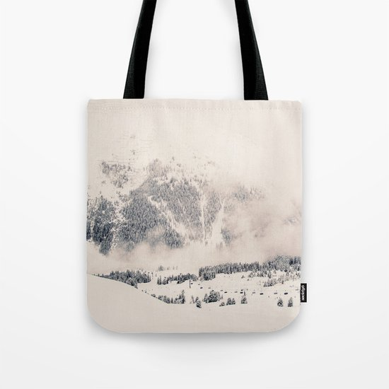 White Winter Mountains In Snow Tote Bag