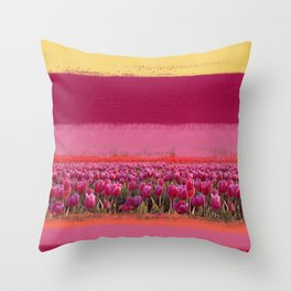 field of tulips Throw Pillow