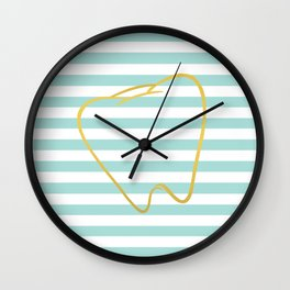 Aqua Stripes with Gold Tooth Wall Clock