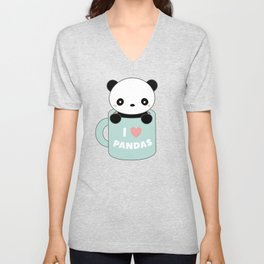 Kawaii I Love Pandas Unisex V-Neck