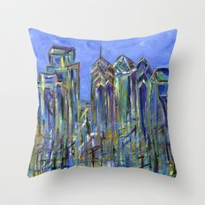 Blue Philadelphia Skyline Throw Pillow