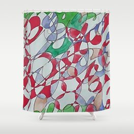 Abstract Green Pink Berry Strawberry Summer Watercolor Shower Curtain