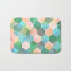 Child's Play - hexagon pattern in mint green, pink, peach & aqua Bath Mat