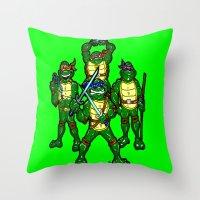 teenage mutant ninja turtles Throw Pillows featuring Teenage Mutant Ninja Turtles by beetoons