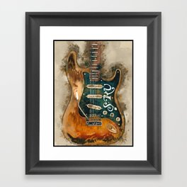 stevie ray vaughan's, electric guitar, gift for guitarists, guitar gift, blues music Framed Art Print