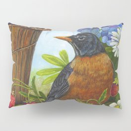 Robin and Old Wooden Bucket Pillow Sham