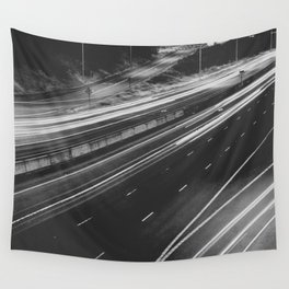 Seattle at Night - Black and White Wall Tapestry
