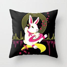 DJ Rabbit Throw Pillow