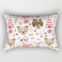 Pink Boho Animals Rectangular Pillow