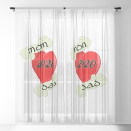 Mom and Dad 2020 Heart Sheer Curtain