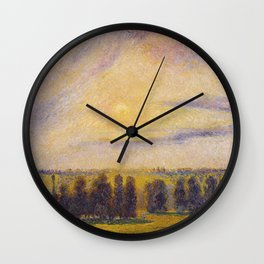 Camille Pissarro - Sunset At Eragny Wall Clock