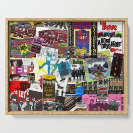 British Rock and Roll Invasion Fab Four Vintage Concert Rock and Roll Painting Collage portrait Serving Tray