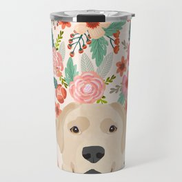 Labrador Retriever yellow lab floral pattern cute florals dog breed pure breed dog lover gifts Travel Mug