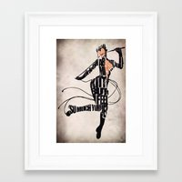 catwoman Framed Art Prints featuring Catwoman by Ayse Deniz