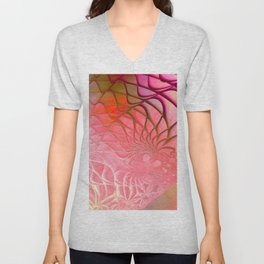 Web of the Universe (coral and magenta) Unisex V-Neck