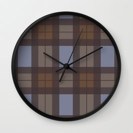 Brown and Blue Tartan Wall Clock