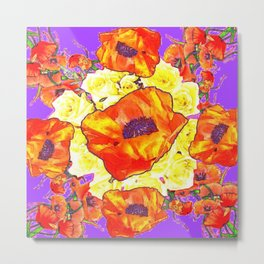 ABSTRACTED ORANGE POPPIES FLORAL LILAC YELLOW Metal Print