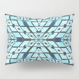 Three Dimensional Geometric Blue Patchwork Print Pillow Sham