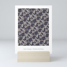 Water Swingers in Night Out ( leafy sea dragon pattern in navy and cream ) Mini Art Print