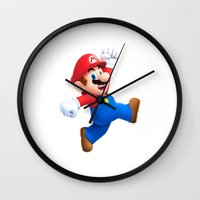 mario Wall Clocks featuring Mario by Maxvision
