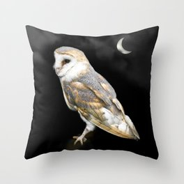 The Owl and the Moon Throw Pillow
