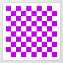 Cheerful Purple Checkerboard Pattern Art Print