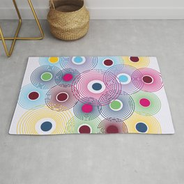 Colorful Circles in Water Pattern Rug