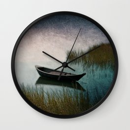 Midnight Paddle in Teal Indigo and Pink Wall Clock