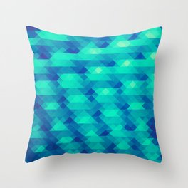 Modern Fashion Abstract Color Pattern in Blue / Green Throw Pillow