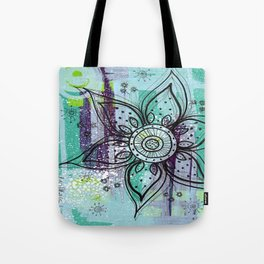 Teal Flower Tote Bag