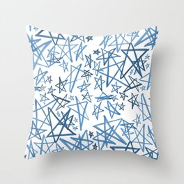 Helping Stars Blue Throw Pillow