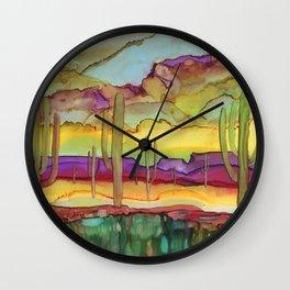 Desert - alcohol ink Wall Clock