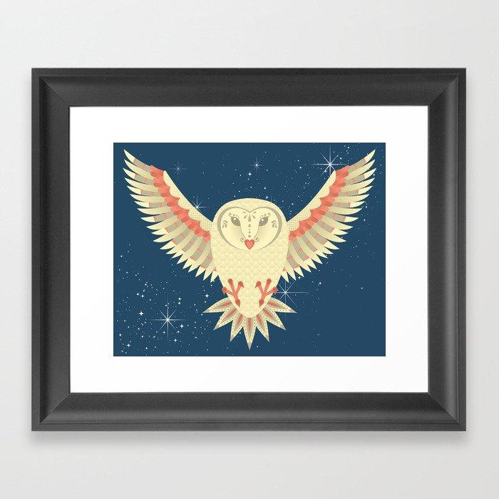 Flying Barn Owl Framed Art Print