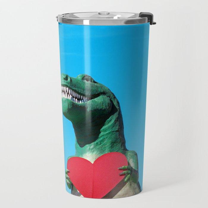 Tiny Arms, Big Heart: Tyrannosaurus Rex with Red Heart Travel Mug