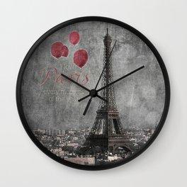 I love Paris {bw red balloons Wall Clock