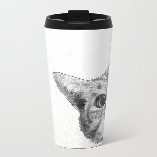 sneaky cat Metal Travel Mug