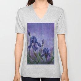 Fleur De Lis Violet Flowers Unisex V-Neck