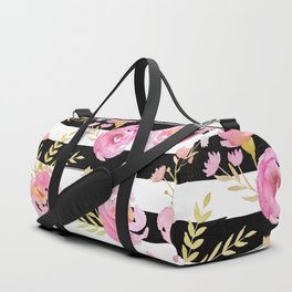 Delicate Poppy Pattern On Stripes 2 Duffle Bag