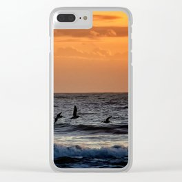 Four Pelicans at Sunrise Clear iPhone Case