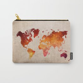 Red World Map Carry-All Pouch